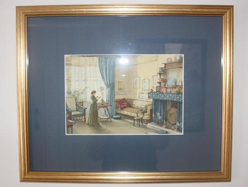 Antique Original Watercolour - Lady Reading - Mary Sophia Godlee 1860-1932 (1 of 5)