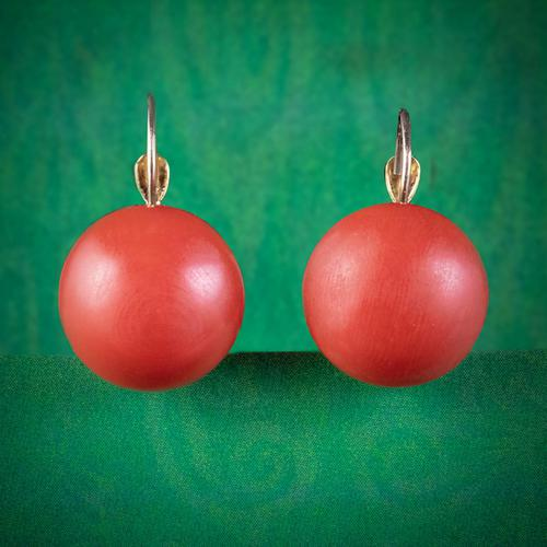 Antique Victorian Coral Earrings 18ct Gold c.1880 (1 of 5)