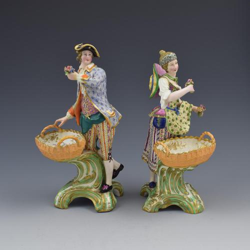Fine Pair Minton Porcelain Sweetmeat Figures with Baskets Models 84 & 85 c.1830 (1 of 23)