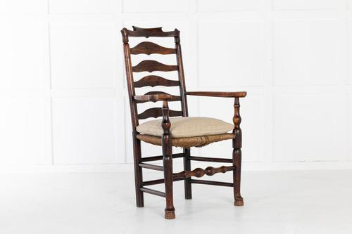 18th Century English Elm Ladder-Back Carver Chair (1 of 11)