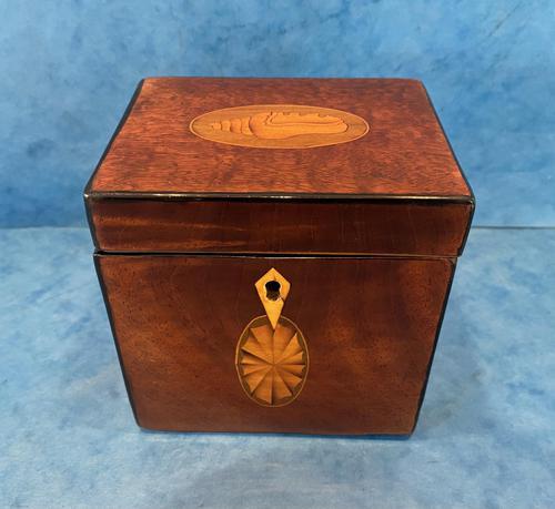 18th Century Harewood Inlaid Single Mahogany Tea Caddy (1 of 18)