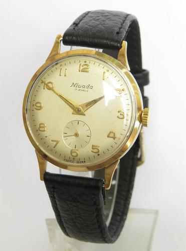 Gents 9ct Gold Nivada Wrist Watch, 1962 (1 of 5)