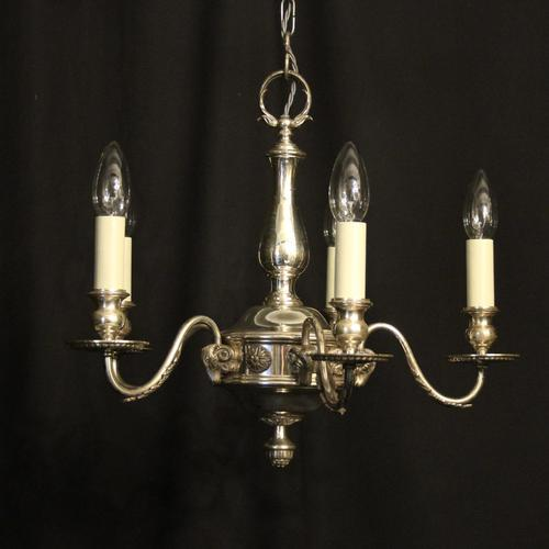 English Silver Plated 5 Light Antique Chandelier (1 of 10)