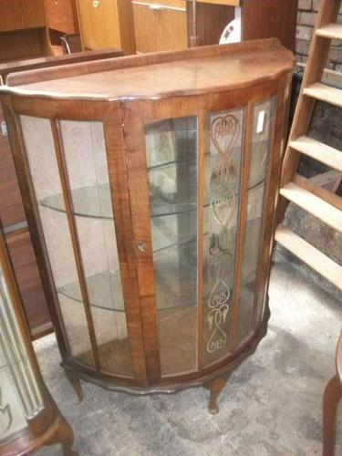Bow Front Walnut Display Cabinet (1 of 2)