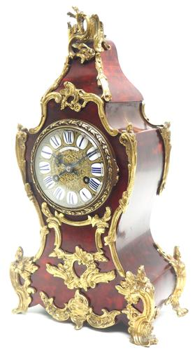 Wow! Phenomenal French Boulle Mantel Clock Red Shell floral Ormolu Mounts 8 Day Mantle Clock (1 of 10)
