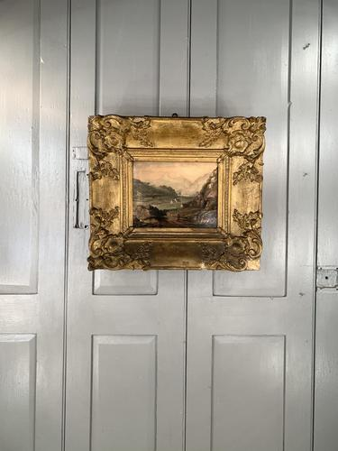 Antique Victorian Landscape Oil Painting in Ornate Gesso Frame (1 of 10)