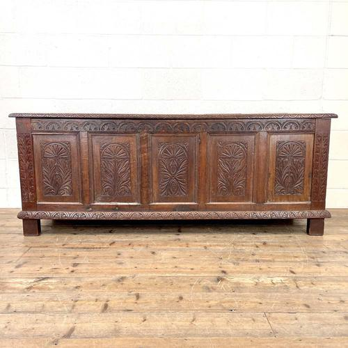 Huge 18th Century Carved Oak Coffer (1 of 9)