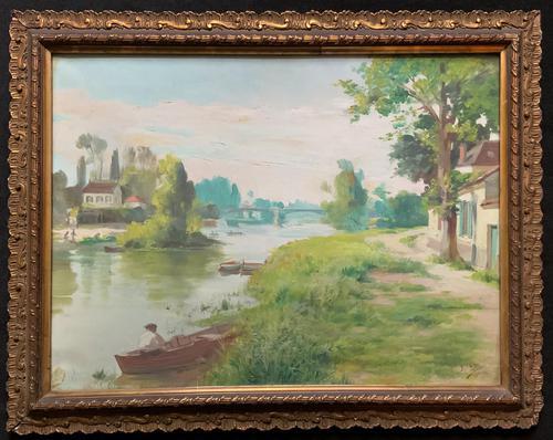 Original 1902 Antique French Riverscape Landscape Oil on Canvas Painting (1 of 13)