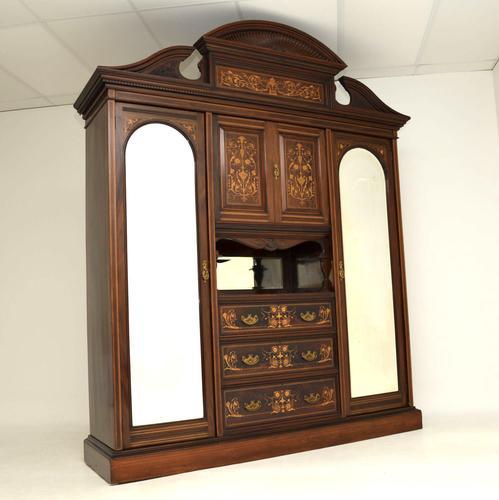 Antique Victorian Inlaid Mahogany Wardrobe by James Shoolbred (1 of 17)