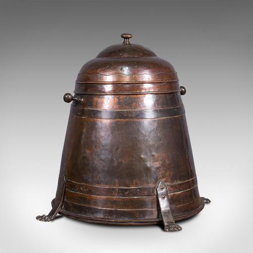 Antique Beehive Fireside Store, Copper, Fire Bucket, Coal Bin, Victorian c.1850 (1 of 12)
