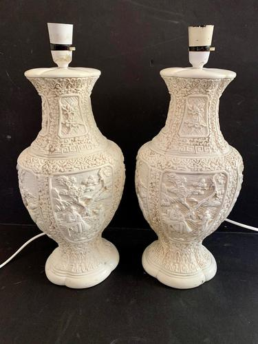 Pair of Plaster Moulded Lamp c.1930 (1 of 5)
