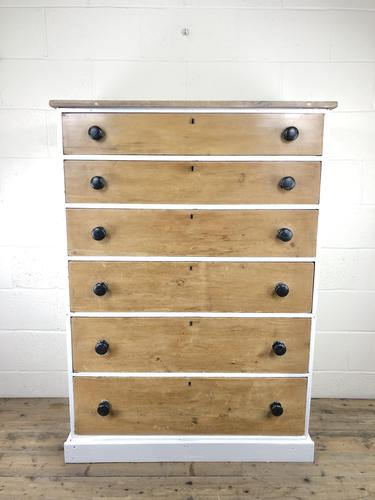 Victorian Pine Tall Chest of Drawers (1 of 9)