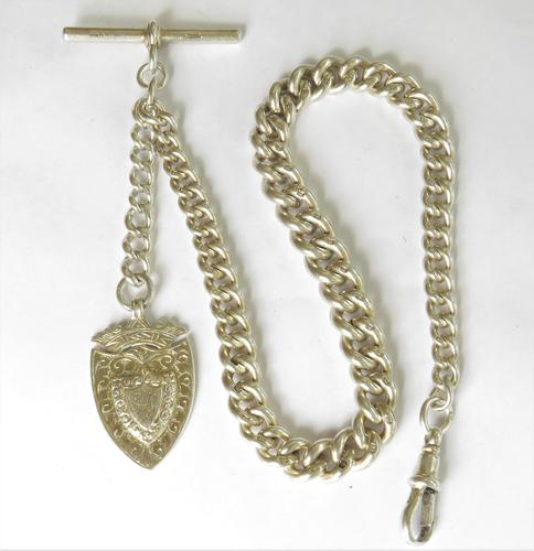 Antique Silver Watch Chain & Fob (1 of 5)
