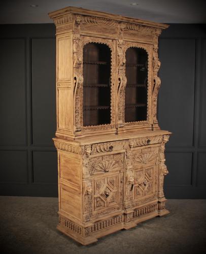 Carved Raw Oak Glazed Bookcase (1 of 21)