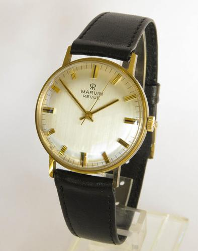 Gents boxed 9ct gold Marvin Revue wristwatch (1 of 5)