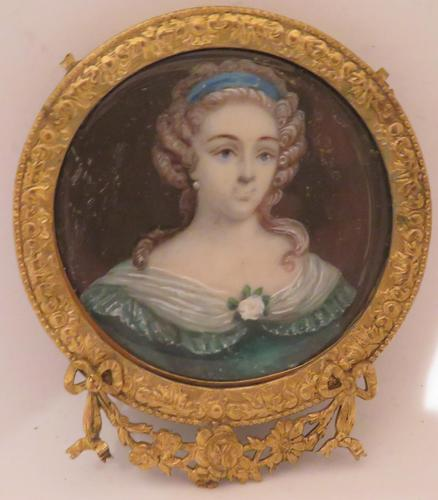 Miniature Portrait Lady French Court Ormolu Frame (1 of 4)