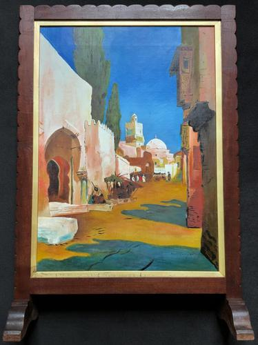 Augusta Coles Moroccan Cityscape Oil Painting Mahogany Fire Screen c.1911 (1 of 16)