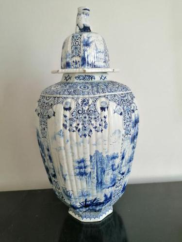 Imposing 19th Century Dutch Delft Blue & White Vase & Cover (1 of 15)