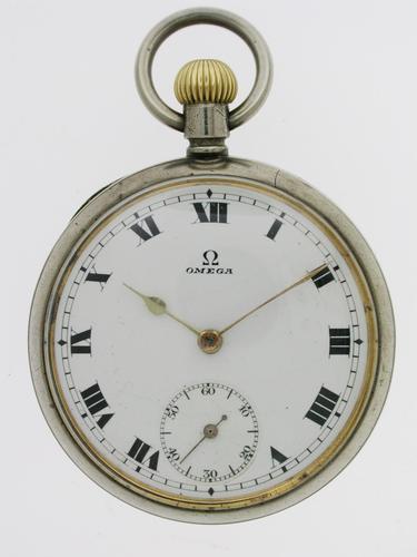 Omega Steel Open Face  Pocket Watch Swiss 1920 (1 of 6)