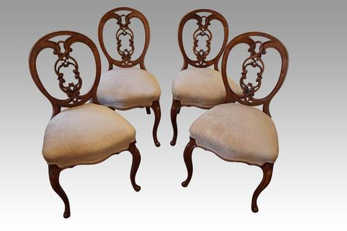 Set of 4 Victorian Walnut Dining Chairs (1 of 6)