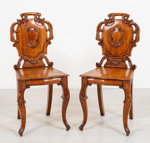 Wonderful Pair of Victorian Oak Hall Chairs (1 of 7)