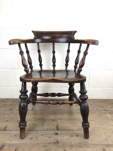 19th Century Ash and Elm Smoker's Bow Chair (M-1704) (1 of 15)