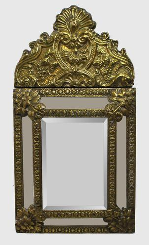 Small 19th Century French Repoussé Brass Cushion Mirror (1 of 7)