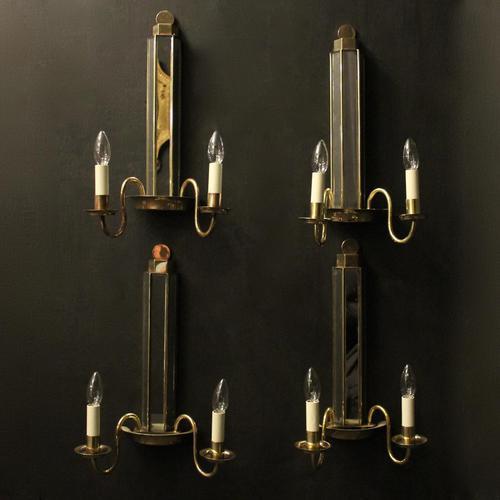 English Set of 4 Art Deco Brass Wall Lights (1 of 10)