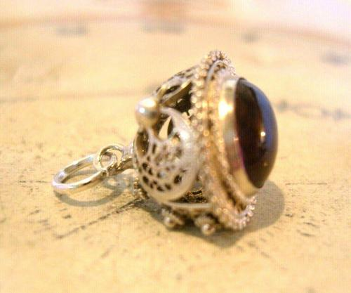 Vintage Pocket Watch Chain Silver Fob 1950s Victorian Revival Amethyst Stone Fob (1 of 10)