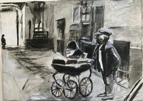 Original gouache painting 'Man, pram and gramophone' Unknown artist 1950's / 1960's (1 of 2)