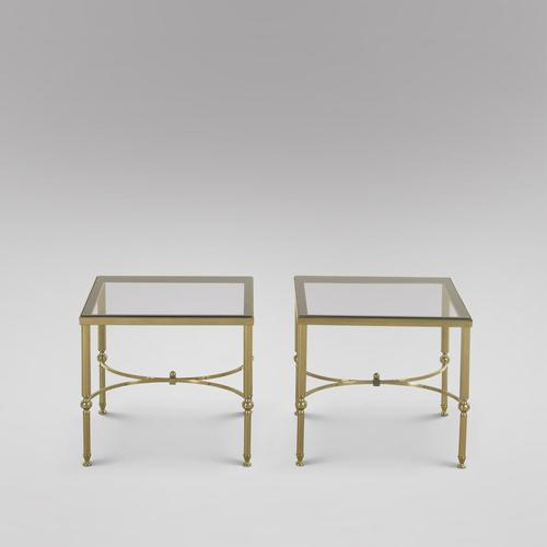 Pair of Lacquered Brass and Smoked Glass Tables (1 of 3)