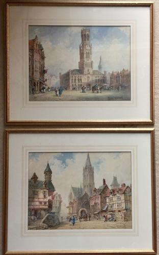 Pierre Le Boueff Pair of Watercolours - Continental Street Scenes (1 of 3)