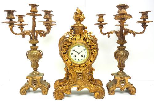 Impressive Candelabra Clock Set French Rococo Ormolu Bronze Mantel Clock. (1 of 10)