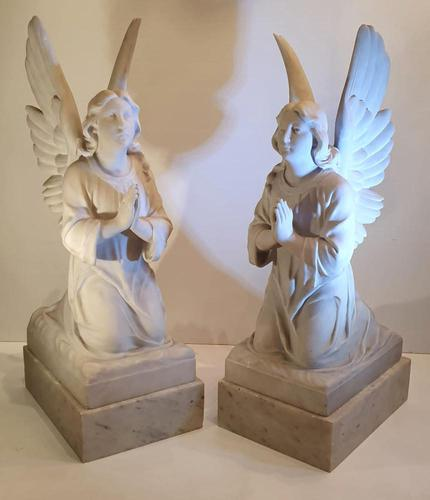 Pair of 19th Century White Marble Statues of Angels (1 of 8)