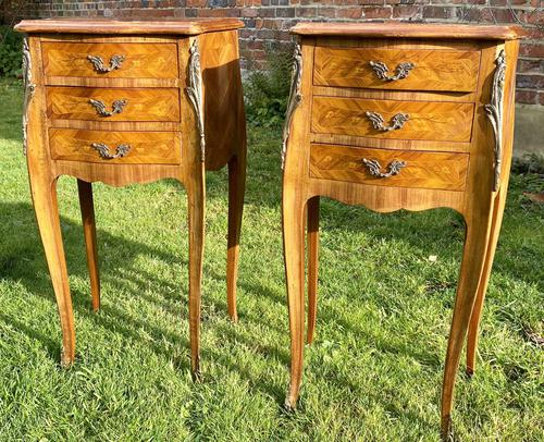 Pair of French Marquetry Bedside Tables (1 of 6)