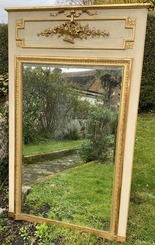 French Painted & Gilded Trumeau Mirror (1 of 6)