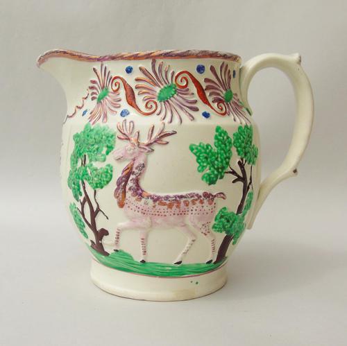 Attractive Pink Lustre Creamware Jug With Deer c.1820 (1 of 7)
