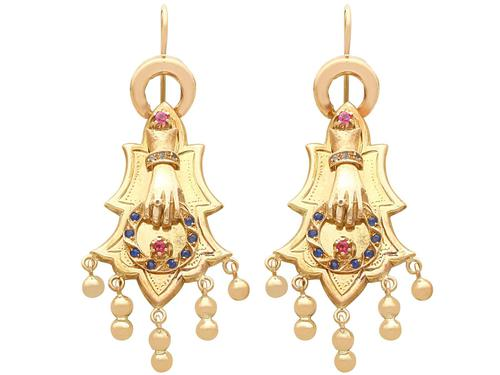 0.35ct Sapphire & 0.27ct Ruby, 14ct Yellow Gold Earrings - Antique 1880s (1 of 9)