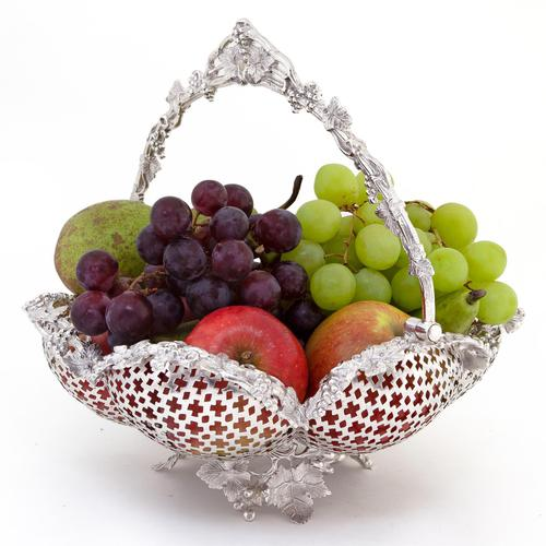 Decorative Cast Victorian Silver Plated Basket with a Pierced Ribbed Body (1 of 8)