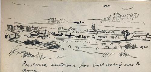 Original pen and ink drawing 'American aircraft landing at Prestwick aerodrome c.1944 by Richard Walker 1925-2009 (1 of 2)