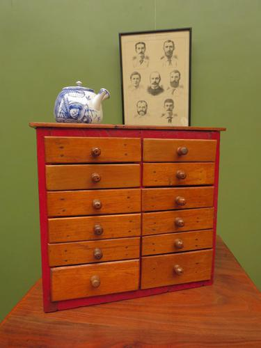 Antique Miniature Scratch Built Bank of Drawers, made from Jamaican Cigar Boxes (1 of 19)