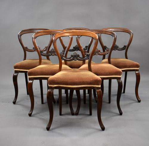 19th Century Set of 6 Victorian Rosewood Dining Chairs (1 of 8)