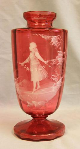 Antique Large Mary Gregory Cranberry Vase (1 of 8)