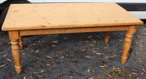 1940's Country Pine Dining Table with Turned Legs (1 of 3)