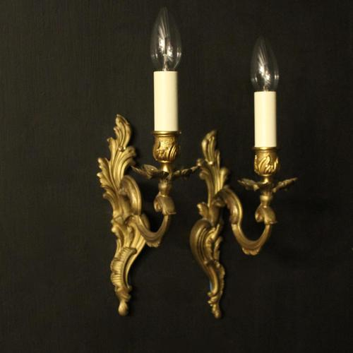 French Pair of Gilded Brass Antique Wall Lights (1 of 8)