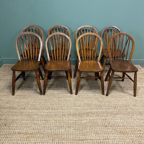 Eight Country House Elm Antique Kitchen Chairs (1 of 8)