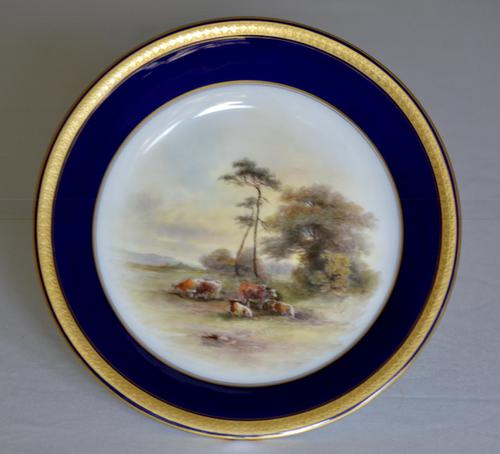Royal Worcester Dish 1914 - Hand-painted Lowland Cattle by John Stinton, (1 of 9)