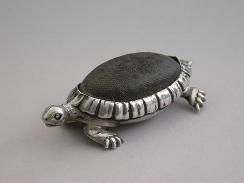 Edwardian Novelty Antique Silver Tortoise Pin Cushion by Saunders & Shepherd, Birmingham, 1906 (1 of 8)