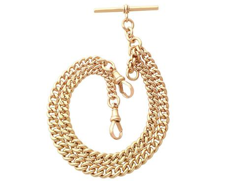 9ct Yellow Gold Double Albert Watch Chain - 1925 (1 of 12)
