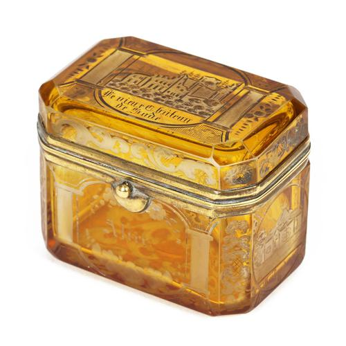 Bohemian Antique Engraved Metal Mounted Overlay Yellow Glass Sugar Casket 19th Century (1 of 19)
